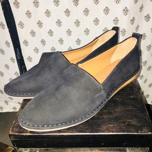 Frye Helena Black Suede A-Line Slip On's Brand New
